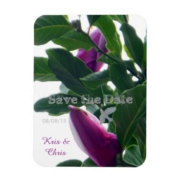 Blossoming Magnolias Save the Date Rectangular Photo Magnet
