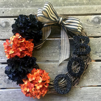 Fall Wreath, Halloween Decoration, Fall Wreathes, Door Wreath, Fall Decor, Autumn Wreath, Fall Wreaths, Hydrangea Wreath, Outdoor Wreath