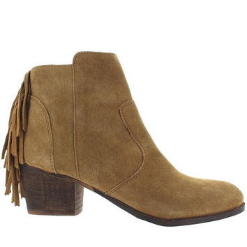 Coconuts Espana - Tan Suede Back Fringe Western Bootie