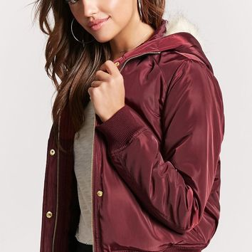 Padded Faux Fur-Lined Hooded Bomber Jacket