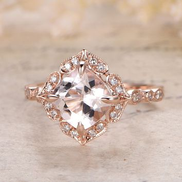 Morganite Engagement Ring Cushion Cut Morganite in 14k Rose Gold ca6f67282be1