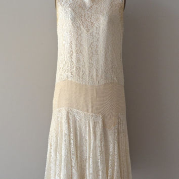 Glissando lace wedding dress / silk lace and beaded 1920s dress / lace 20s wedding