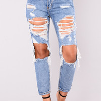 Momo Distressed Jeans - Denim
