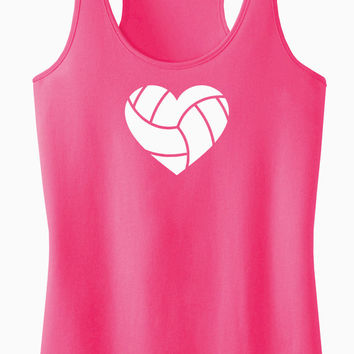 Volleyball Heart Racerback Tank Top