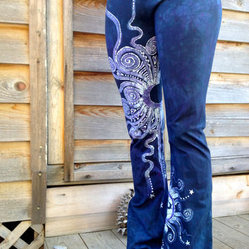 Internal Flames Batik Yoga Pants in Navy Blue and Purple