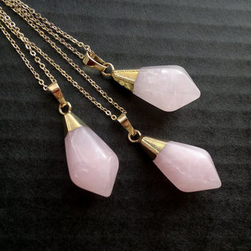 Rose Quartzt Necklace Gold Dipped Pink Stone Drop Necklace Rose Quartz Jewelry Natural Stone Chain Crystal Mineral Boho Jewelry Semiprecious