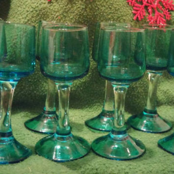 A Spectacular Set of 8 Vintage Cobalt Blue Cordial Stem Glasses