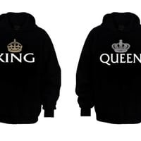 Couple Matching Hoodies - My King & My Queen - Black - S-XXL - Best Gift Ever - Cute