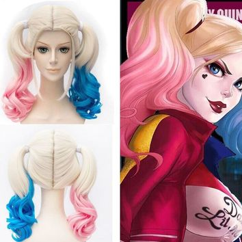 Anime Suicide Squad Harley Quinn Cosplay Wigs Peluca Movie Adult Women Girl Costumes Cosplay Hair Wig