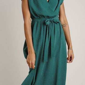 Celine Green Polka Dot Midi Dress