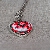 Ukrainian embroidered JEWELRY STORE. Ethnic textile heart necklace. Red and black. Free shipping worldwide! P13.