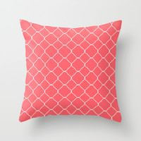 Moroccan Coral Throw Pillow by Beautiful Homes