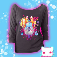 Super Yokai Ghouls and Ghosts Creepy Cute 3/4 Sleeve Sweatshirt Kawaii Fairy Kei Pastel Goth