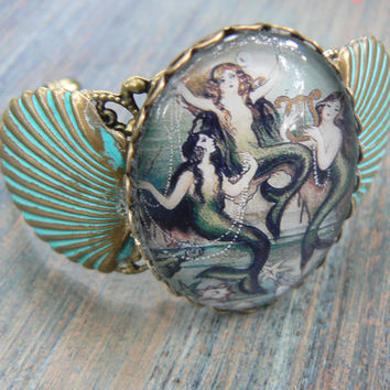 siren bracelet three mermaids fantasy cuff
