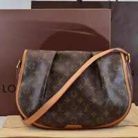 Authentic Used Louis Vuitton Menilmontant MM in Monogram with Dust Bag, Box and Bag JUST RETIRED