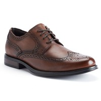 Chaps Astor Men's Leather Wingtip Dress Shoes (Brown)