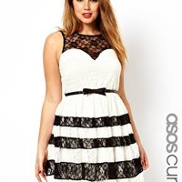 ASOS CURVE Skater Dress With Contrast Lace at asos.com