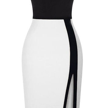 White Mid Dress with Pencil Skirt with Side Slit