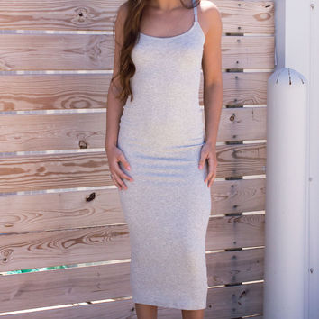 Alicia Ribbed Midi Dress - Grey