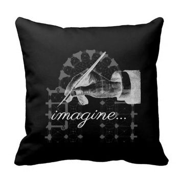 Imagine Vintage FountainPen Cathedral Black Pillow