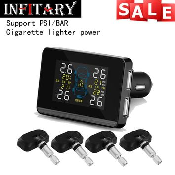 Auto Car Wireless TPMS Tire Pressure Monitoring System with 4 Sensors LCD Display Monitor Cigarette Lighter Socket free shipping
