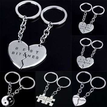 Broken Heart Best Friend Keyring Yin Yang Love Charm Keychain Key Chain Jewelry Women Men Jewelry Friendship 2PC/set