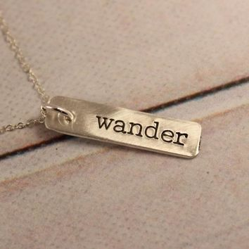 """wander"" Necklace / Charm - Sterling Silver, Gold Filled or Rose Gold Filled."
