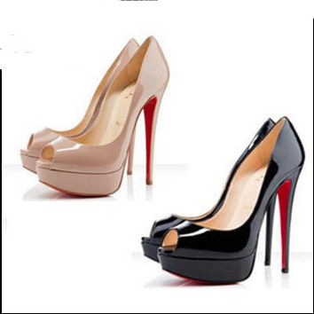 Women pumps red bottoms sheepskin red bottom high heels 14cm shoes woman Waterproof heels US size 4-10 tenis feminino