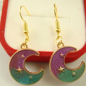 Crescent Moon and Stars Fashion Earrings