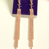 YSL golden and silver long tassel earrings