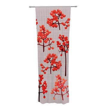 """Pallerina Design """"Holiday Berry Twigs"""" Red Tan Floral Nature Decorative Sheer Curtain"""