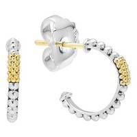Women's LAGOS Caviar 'Superfine' Small Two-Tone Hoop Earrings - Silver/ Gold