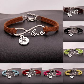 (10Pcs/Lot ) 15Colors Infinity Love Dallas Cowboys Bracelet & Bangles Charm Braided Leather Sports Jewelry For Women Men