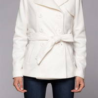 Lorelei Fleece Pea Coat: Ivory S M L