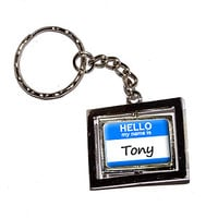 Tony Hello My Name Is Keychain