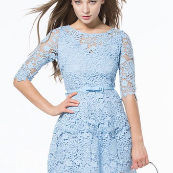 Light Blue Floral Crochet Lace Half Sleeve Dress With Belt