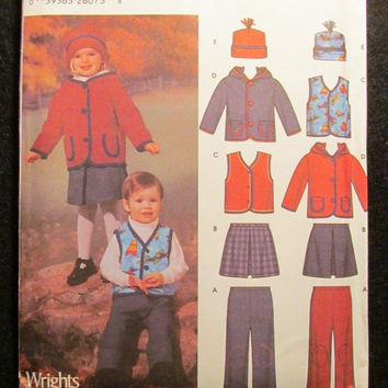 SALE Uncut Simplicity Sewing Pattern, 5831! 1/2-1-2-3-4 Infant/Toddler/Girls/Boys/Pull On Pants/Mini Skirts/Vests/Jackets/Caps/Hats/Hoodies