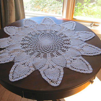 "Large Round Doily, Crocheted Doily, 26""  Round Centerpiece, White Table Topper, Pineapple Pattern Doily, Crochet Tablecloth, White Linens"