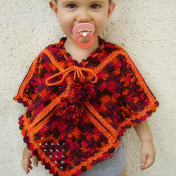Crochet kids poncho, autumn colors cape for toddler, capelet with pompom in orange, brown shades
