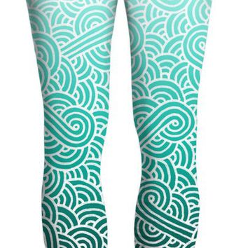 Ombre turquoise blue and white swirls doodles Yoga Pants