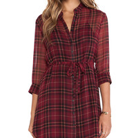 Red Plaid Long Sleeve Drawstring Waist Mini Shift Dress