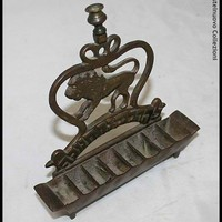 19th Century Antique Polish Bronze Judaica Hanukkah Menorah