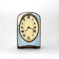 Antique Swiss Silver and Enamel Boudoir Zenith Clock Subminiature Travel Voyage Clock Functional