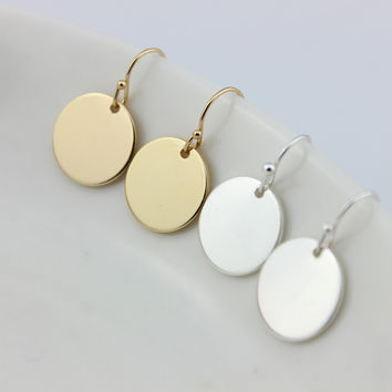 2017 Hot New Fashion Monogram Flat Circle Blank Drop Earrings