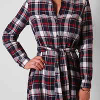 Kalyn Navy and Red Check Shirt Dress