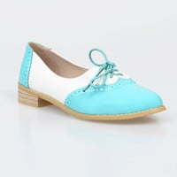 1950s Style Mint & White Colorblock Classic Saddle Shoes