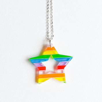 Rainbow Star resin Children necklace Lovely Cute Kawaii Jewelry for Kids and Girls xoxo Love Factory ny