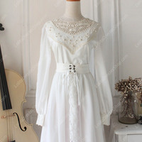 Downton Abbey Vintage White Lace cardigan Front Gothic Lolita Long Dress