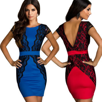 Celeb Style Lace Splicing Slim Fitted Short Bodycon Dress