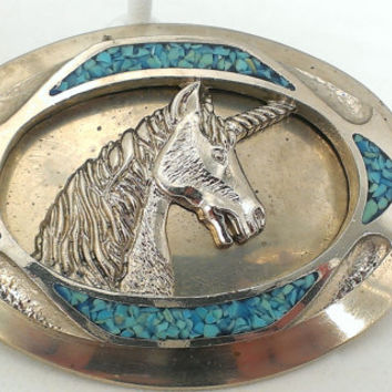 Unicorn Buckle Unisex Fantasy Mystical Turquoise Inlay Silver Tone Pegasus Mythical Royal Coat of Arms Medieval Renaissance Retro Hippie